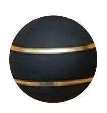 Jakele Kammergriffkugel Aluminium, schwarz, harteloxiert, mit 2-goldfarbenen Fäden